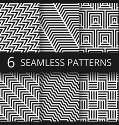 Striped geometric seamless patterns set vector