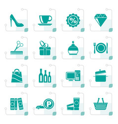 stylized shopping and mall icons vector image