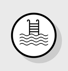 Swimming pool sign flat black icon in vector