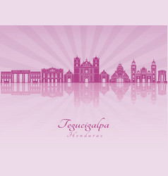 Tegucigalpa skyline in purple radiant orchid vector