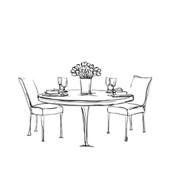 Hand Drawn wares Romantic dinner for two vector image