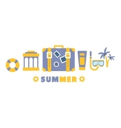 Beach vacation symbols set by five in line vector