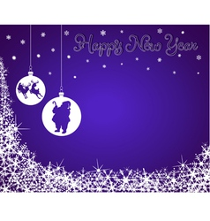 New Year Background with Santa Reindeer vector image