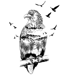 Double exposure eagle vector
