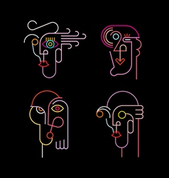 Four Neon Avatars Icons vector image