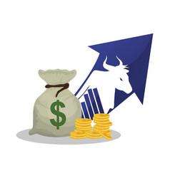 bull wall street stock market vector image