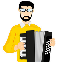 man with accordeon vector image