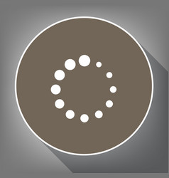 Circular loading sign  white icon on brown vector