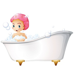 A young girl taking a bath vector