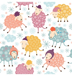 Seamless background with cute sheeps vector