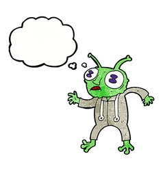 Cartoon alien spaceman with thought bubble vector