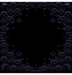 Dark blue floral frame on black background vector