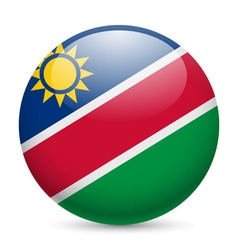 Round glossy icon of namibia vector