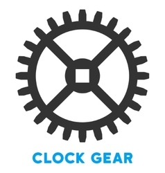 Clock gear flat icon with caption vector