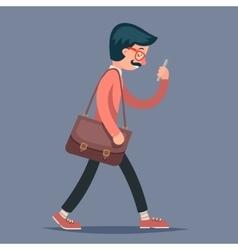 Vintage male geek hipster engineer character walk vector