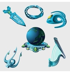 Globe weapon and elements from sci-fi series vector