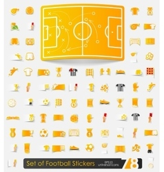Set of football stickers vector