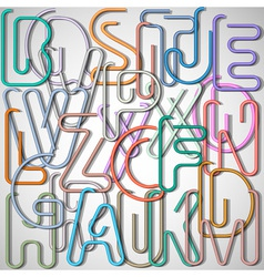 Alphabet letters made from paperclip vector