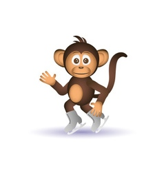 Cute chimpanzee ice skate winter sport little vector
