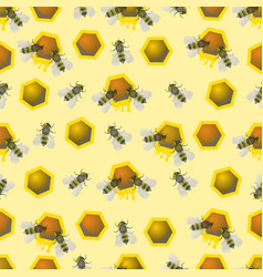 Bee pattern seamless pattern bee honeycomb vector