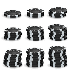 Black poker chips stacks realistic set vector