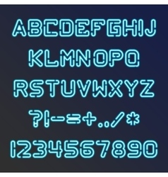 Blue neon font vector image
