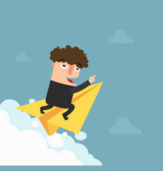 businessman is flying on paper airplane and vector image vector image