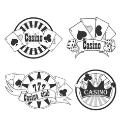 Casino and gambling badges or emblems vector image