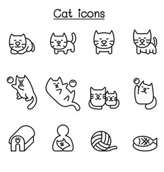 Cat icon set in thin line style vector