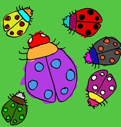 Child ladybugs vector