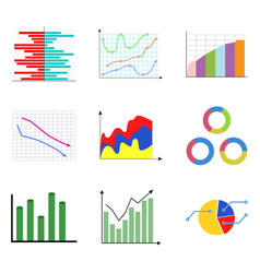 Collection of color diagram and charts vector