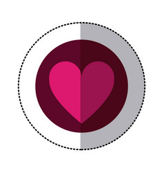 color circle sticker with heart icon inside vector image