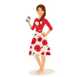 cute cartoon girls with mobile vector image