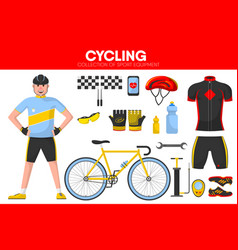 Cycling races sport equipment cycler garment vector