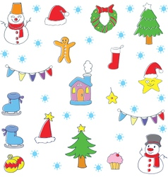 Doodle of color christmas set vector image