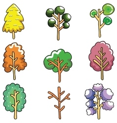 Doodle of unique tree collection vector
