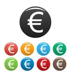 euro symbol icons set vector image