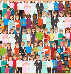 family members standing in repeated long rows vector image vector image