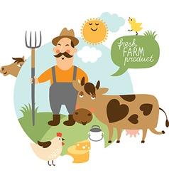 Farmer and his farm vector