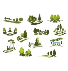 Forest public park and garden landscapes icons vector