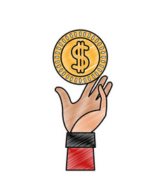 Grated coin with peso symbol and hand up vector