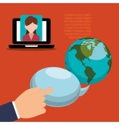 Hand bubble speech world binary laptop girl vector