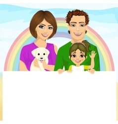 Happy family with pet dog holding blank billboard vector