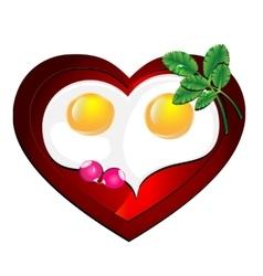 lovely heart omelette vector image vector image