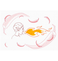 Male breathing fire hot chili pepper concept vector