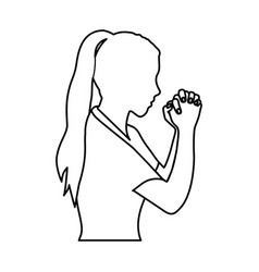 Monochrome contour of half body woman praying vector