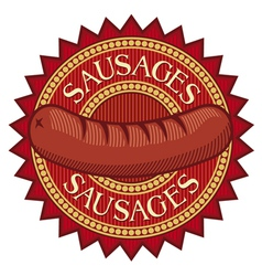 sausages label vector image vector image