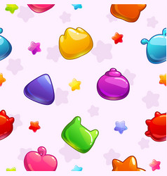 seamless pattern with funny colorful jelly shapes vector image