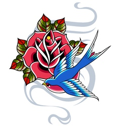 swallow and rose emblem vector image vector image