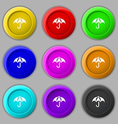 Umbrella icon sign symbol on nine round colourful vector